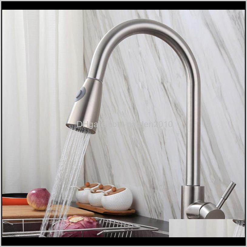 new stainless steel single handle high arc brushed nickel pull out kitchen faucet bar and kitchen sink faucet with pull down sprayer