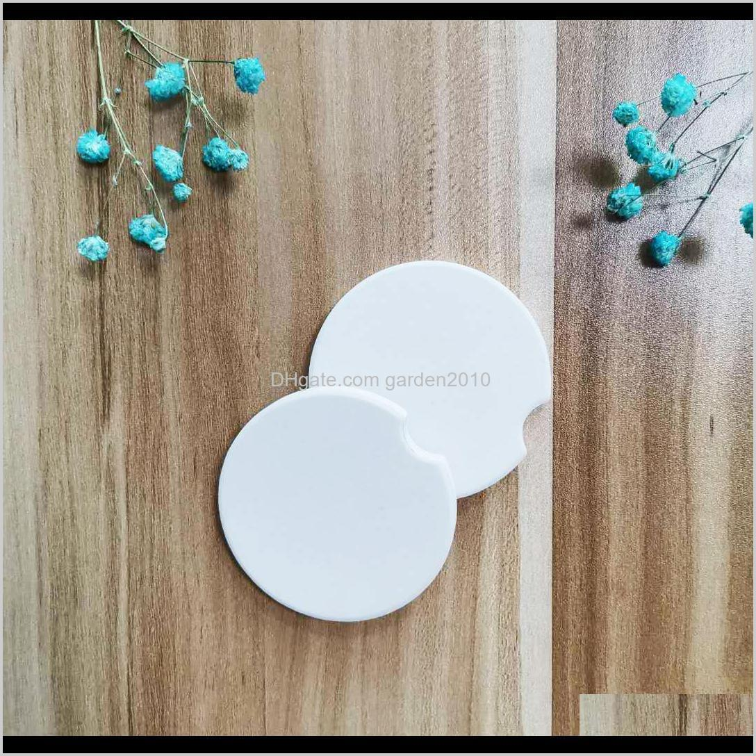 sublimation blank car ceramics coasters 6.6*6.6cm hot transfer printing coaster blank consumables materials factory price