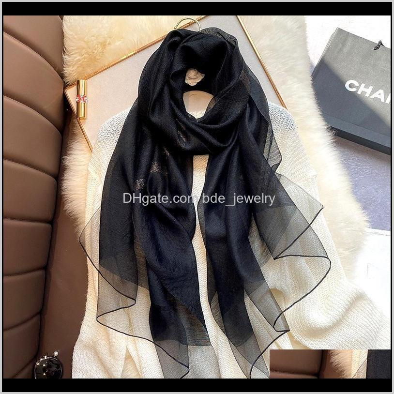 2020 real silk wool scarf women designer brand foulard hijab scarves lady black white red bandana neck shawls wraps