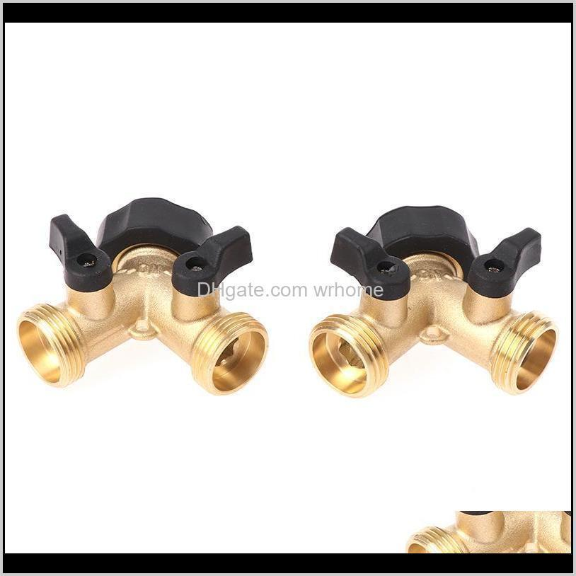 1Pcs Brass Female 2 Way Tap Water Splitter Garden Y Quick Connector Irrigation Valve Hose Pipe Adapter Watering Equipments