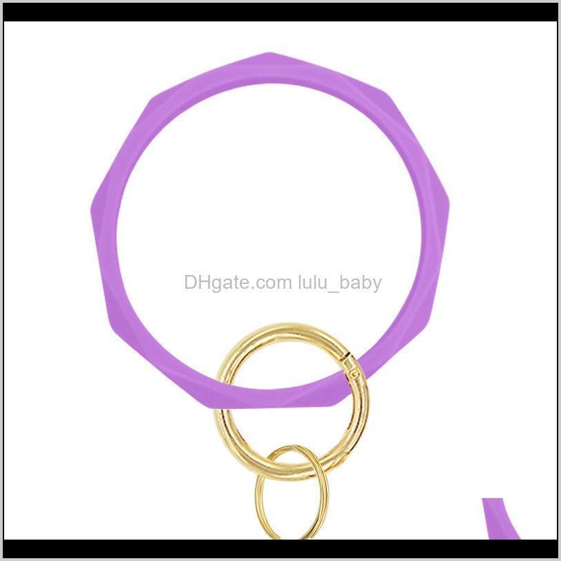 17 Colors Silicone Keychain Bangle Keychain Bracelets Shaped Wristlet Bracelet Circle Charm Key Ring Holder Wristbands Party Favor 1253