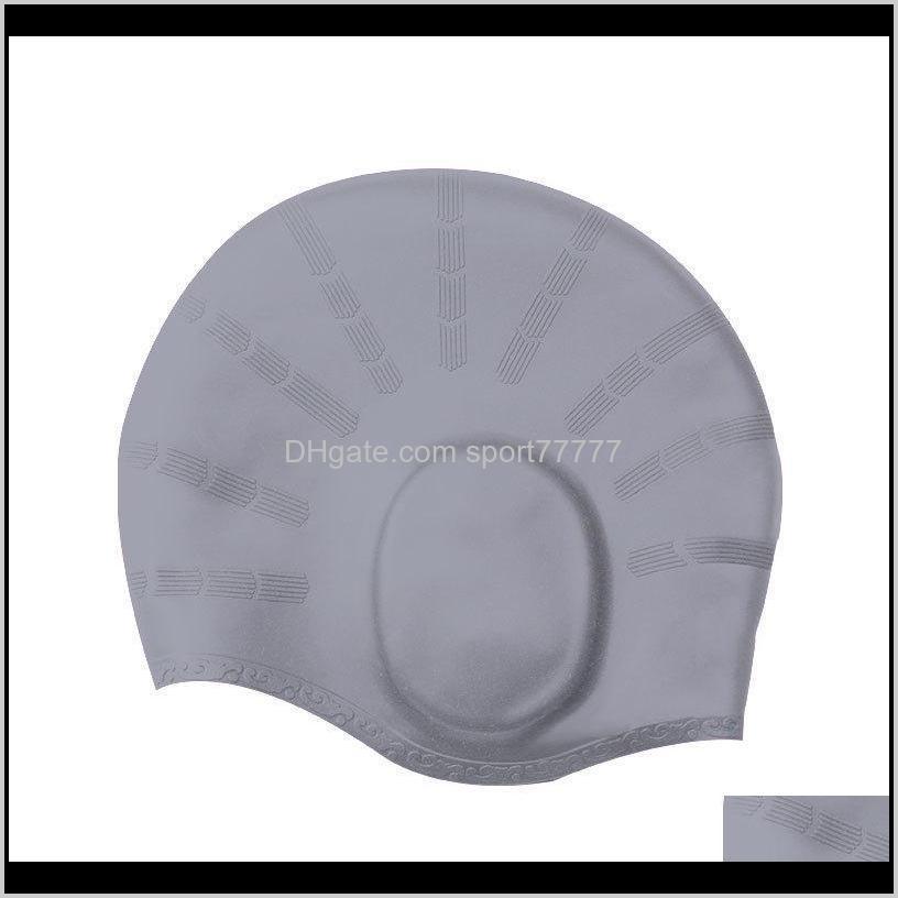 women men waterproof swimming cap silicon swimming ear protect diving swim hat long hair cover pool swim hat