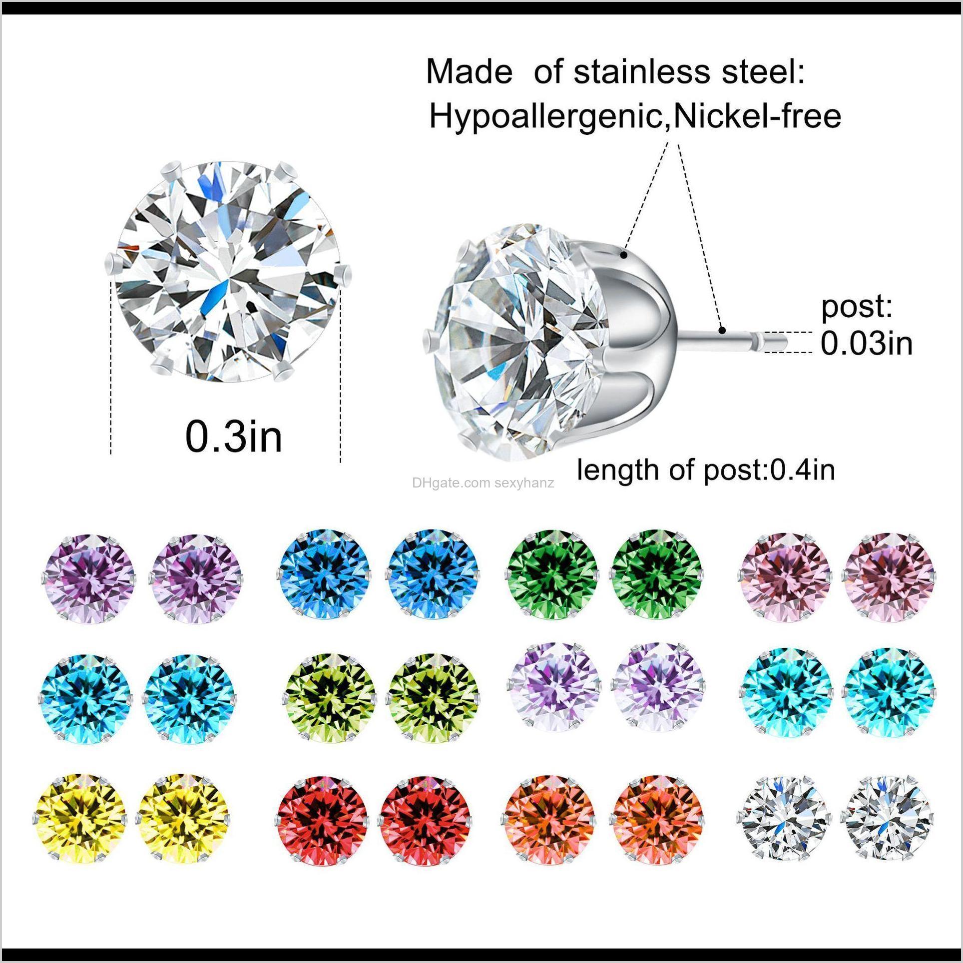 crystal stud earrings for women six claw rainbow color zircon mens stud earrings 12pairs/set christmas gift
