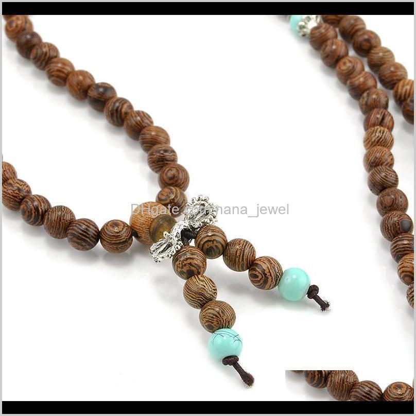 wholesale-108*6mm sandalwood buddhist meditation prayer bead mala necklace pulseras bracelet jewelry for women men jewelry