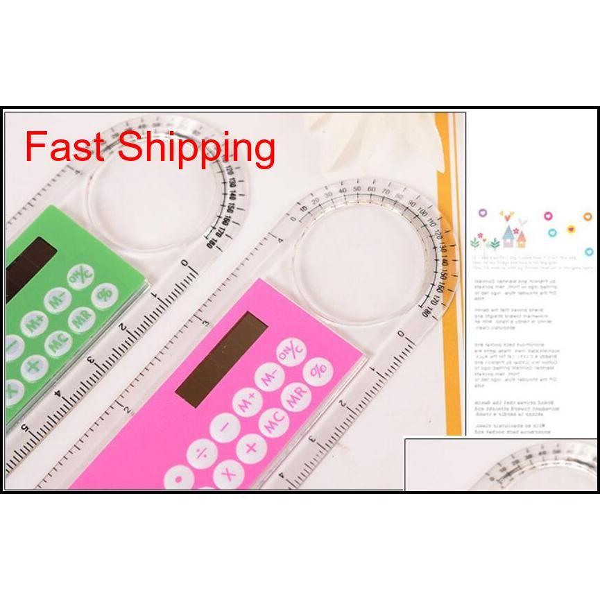 new plastic mini portable solar energy calculator creative multifunction ruler students gift 20pcs epacket
