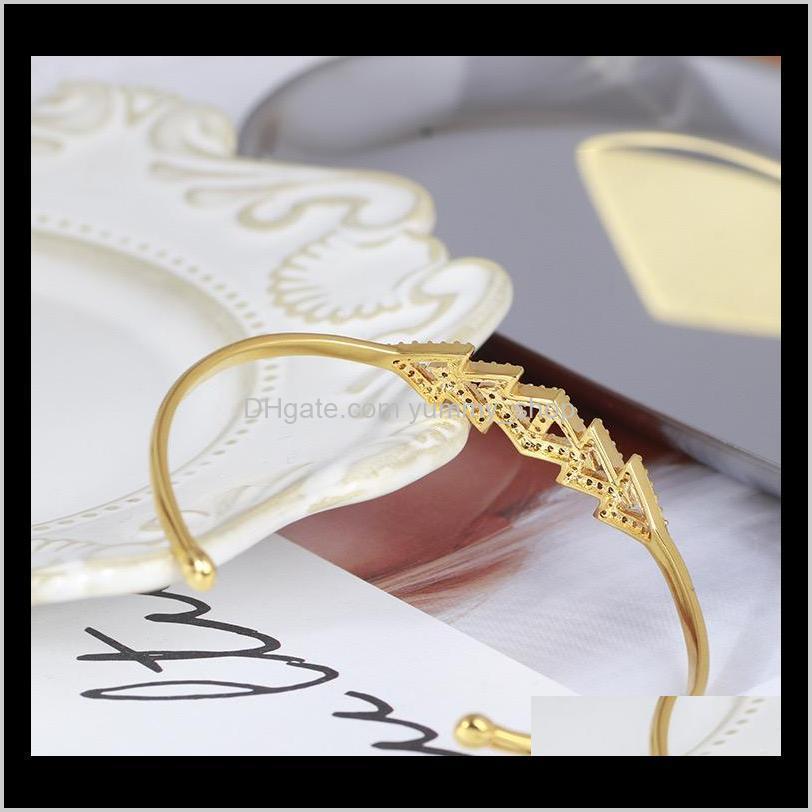 luxury designer jewelry women bracelets triangle with diamond cuff bangles high-end silver rose gold geometric figure elegant bracelet
