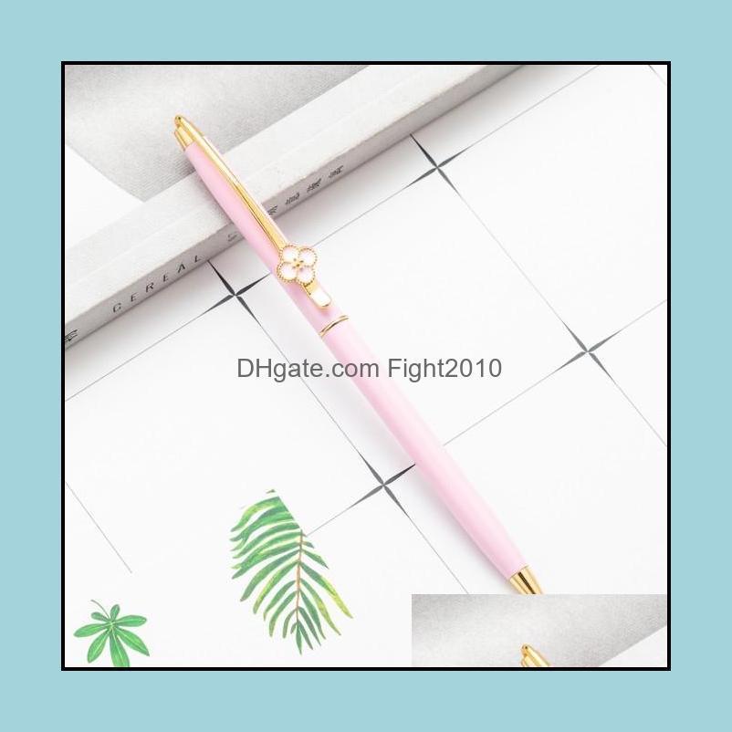 Lucky Clover Advertising Signature Metal Pen Creative Ballpoint Pen Student Teacher Wedding Office School Writing Supplies Pen Gift