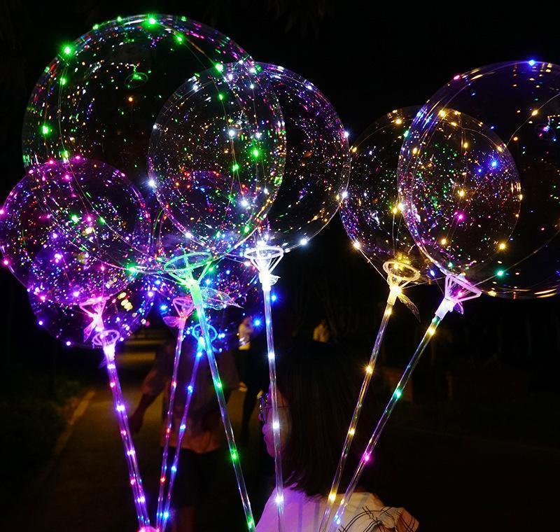 led balloon transparent lighting bobo ball balloons with 70cm pole 3m string balloon xmas wedding party decorations cca11728-a 60pcs