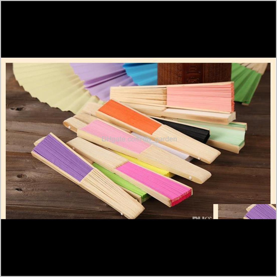 19 colors folding paper bamboo hand fans outdoor wedding favors party event decorations best christmas gift sn1317