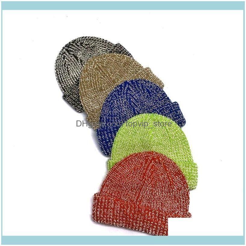 2020 Women Knitted Reflective Beanie Hat Ski Cap Unisex Cool Slouchy Cuffed Warm Hat Caps Cheap1