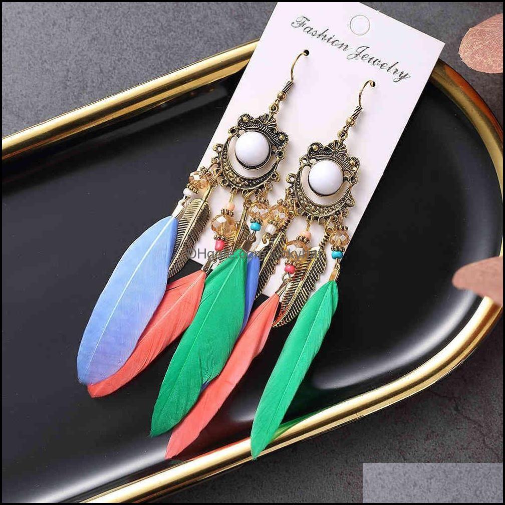 Bohemian Beads Dangle Earrings For Women Boho Fashion Jewelry Ethnic Tassel Long Feather Earring