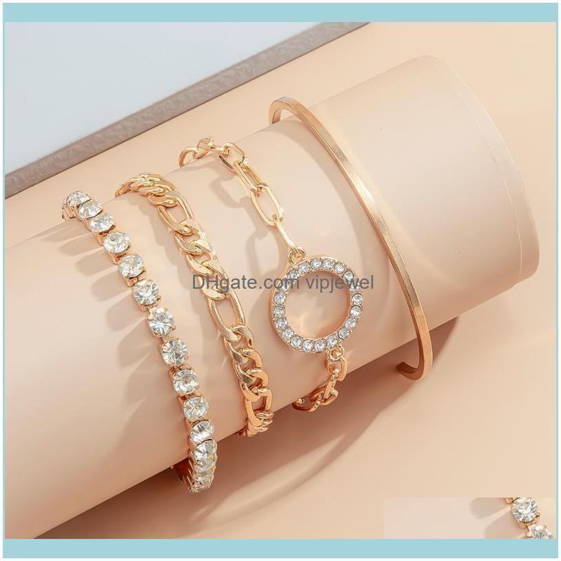 SHIXIN 4Pcs/Set Charms Crystal Bracelets Set for Women Luxury Beling Rhinestones Chain Bracelets Bangles Set Jewelry Hand Chains