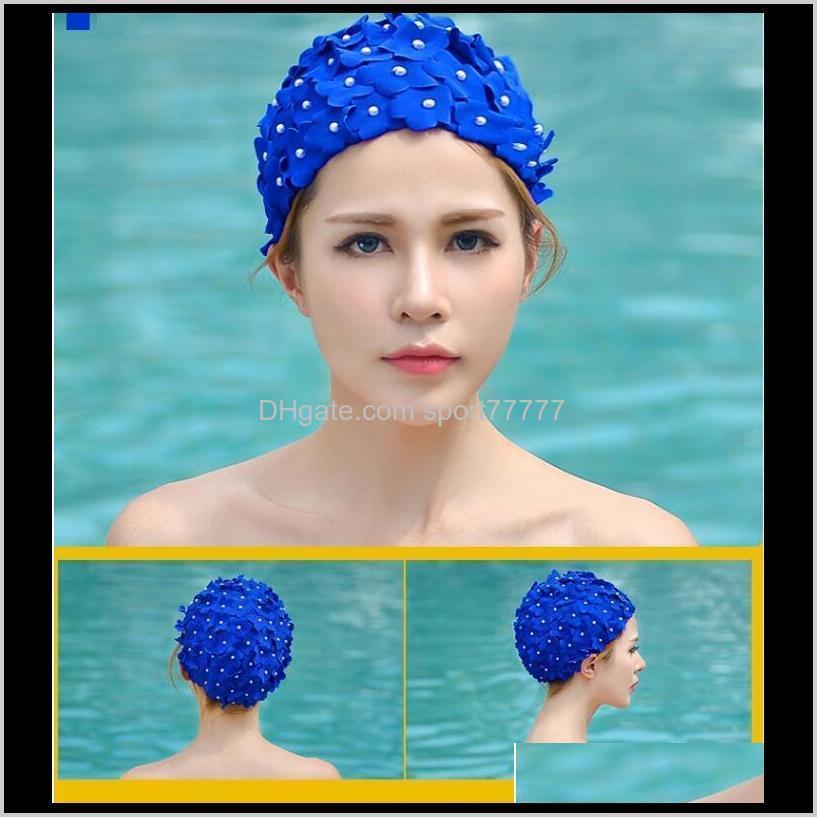 hand - made three-dimensional petal swimming cap long hair spring female caps