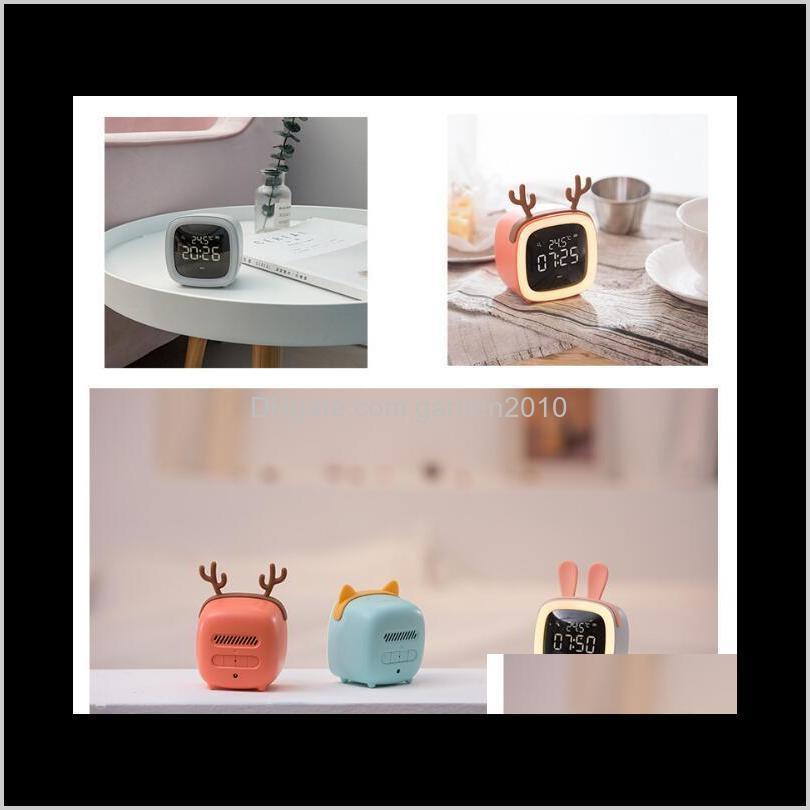 cute pet cartoon tv digital alarm clock led electronic usb charging thermometer clock snooze timer desk table clocks home décor ha1084