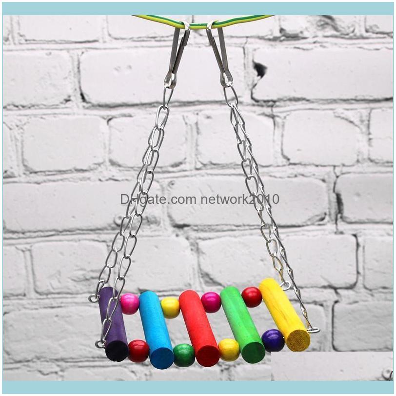 Other Bird Supplies Hanging Hammock Birds Swing Cage Toys Throwing Climbing Toy Bite Suspension Bridge Parrot