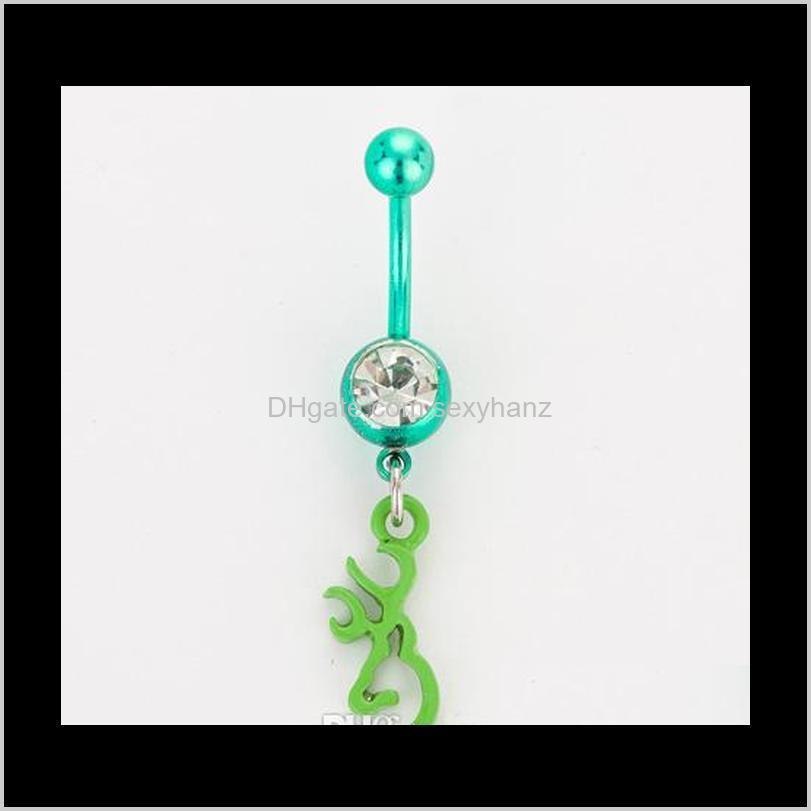 d0068 ( 5 colors ) browning deer belly button navel rings body piercing jewelry dangle fashion charm cz stone 10pcs/lot