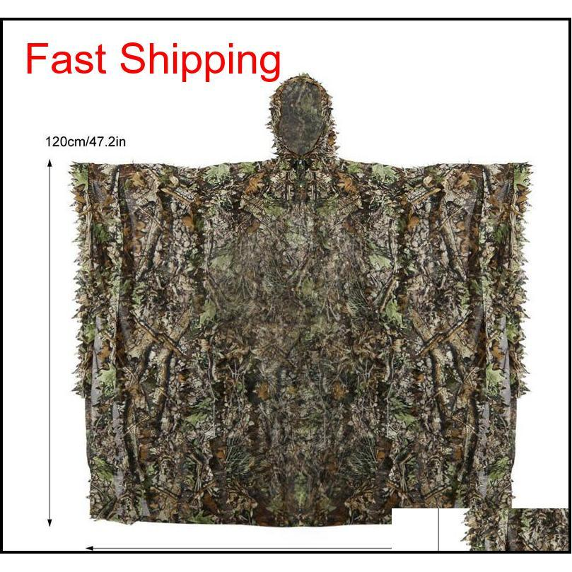 Outdoor 3D Leaves Camouflage Ghillie Poncho