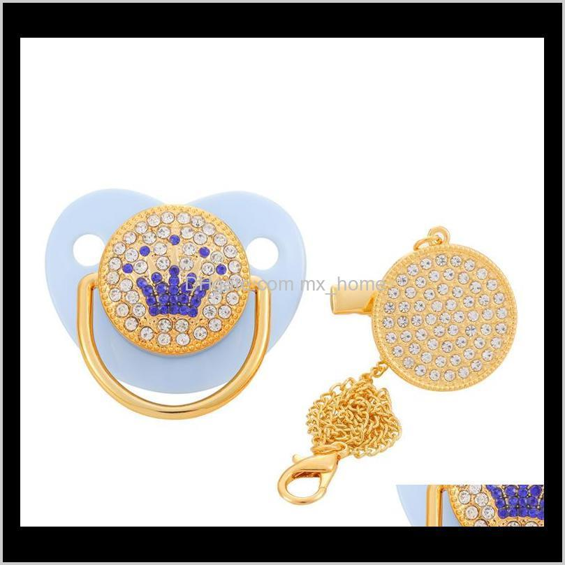 luxury crown diamond baby bling bling pacifier infant soother newborn baby boy girl for shower gift chupete bebé 0-18 months