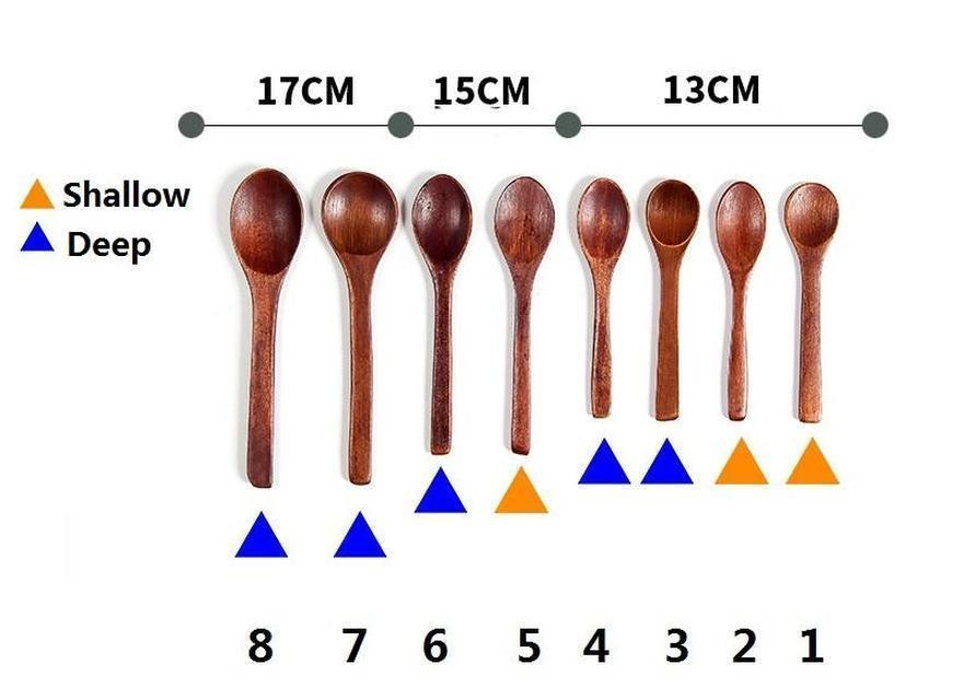 painted wood spoon dining soup tea honey coffee spoon kitchen flatware eco-friendly retro wooden tableware qw9579