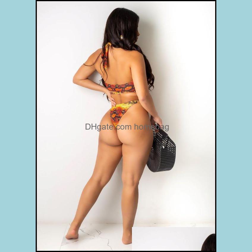 2021 snake print bikini strap plus size women swimsuit
