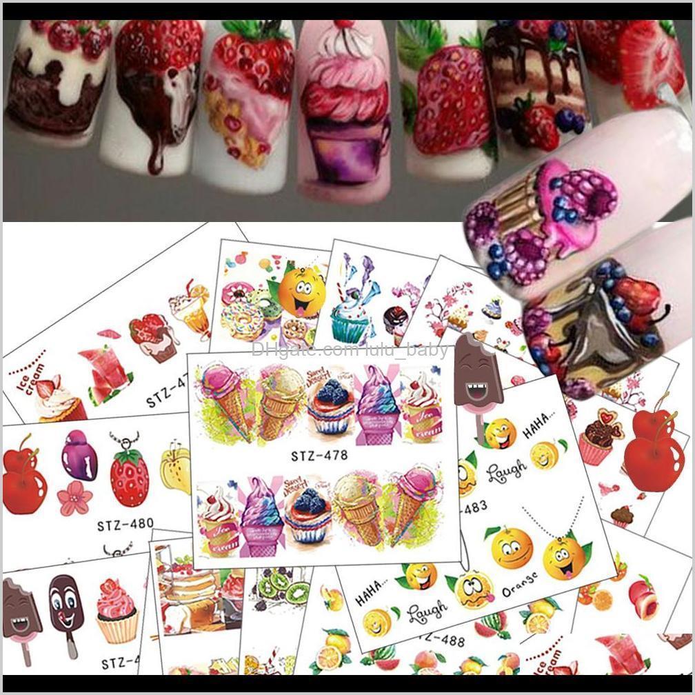 18pcs/set 2018 hot cake/ice cream nail sticker mixed colorful designs women makeup water tattoos nail art decals chstz471-488