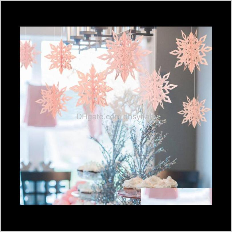 the latest christmas decorations 1 pack = 6 pieces, 3d snowflake string pendants, shopping mall window hanging snowflake pendants