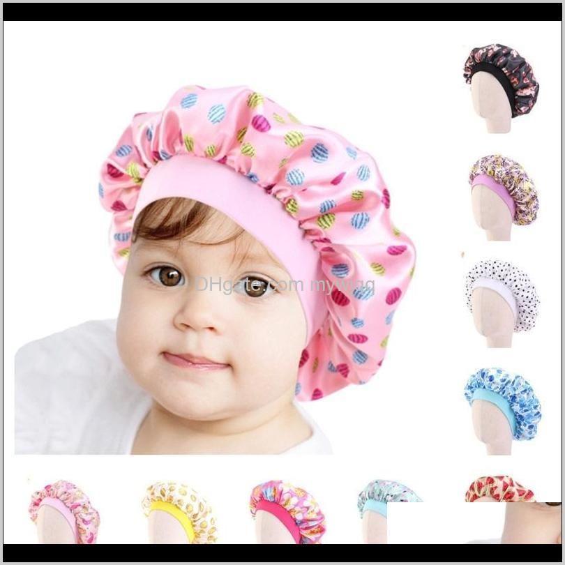 fashion kids bonnet girl satin night sleep shower cap hair care soft cap head cover wrap beanies skull cap for 2-8y baby boutique