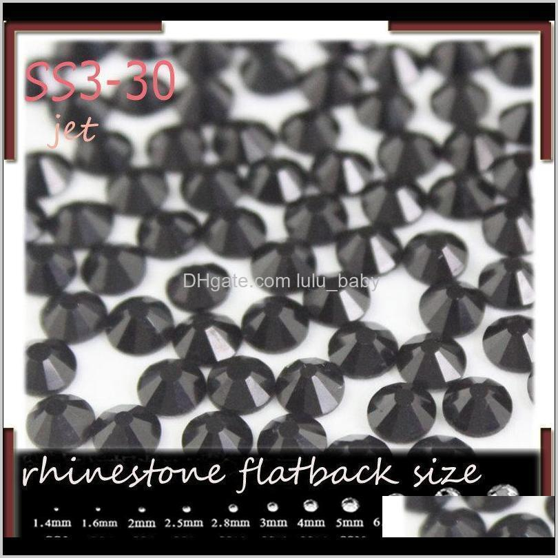 mix sizes jet 1000pcs nail rhinestones, flat back non hotfix glitter nail stones,diy 3d phones decorations supplies black