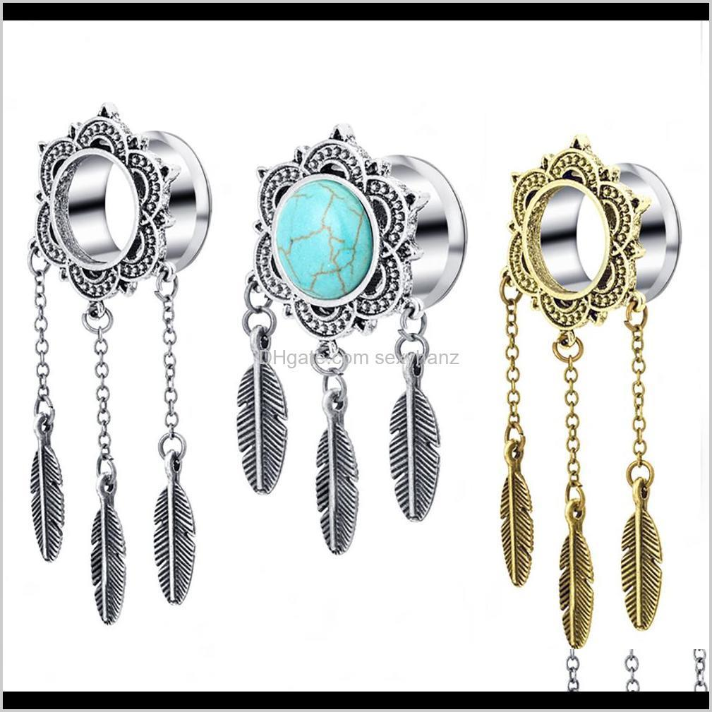 ear tunnel silver dreamcatcher cute feather pendant dangle ear plug tunnel gauge body jewelry piercing earring kits