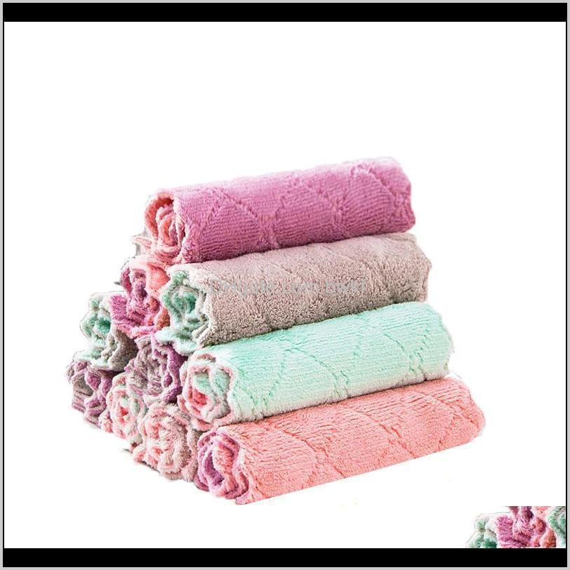 wholesale reusable microfiber cleaning cloth super absorbent dish towel home kitchen oil and dust clean wipe rag kitchen supplies