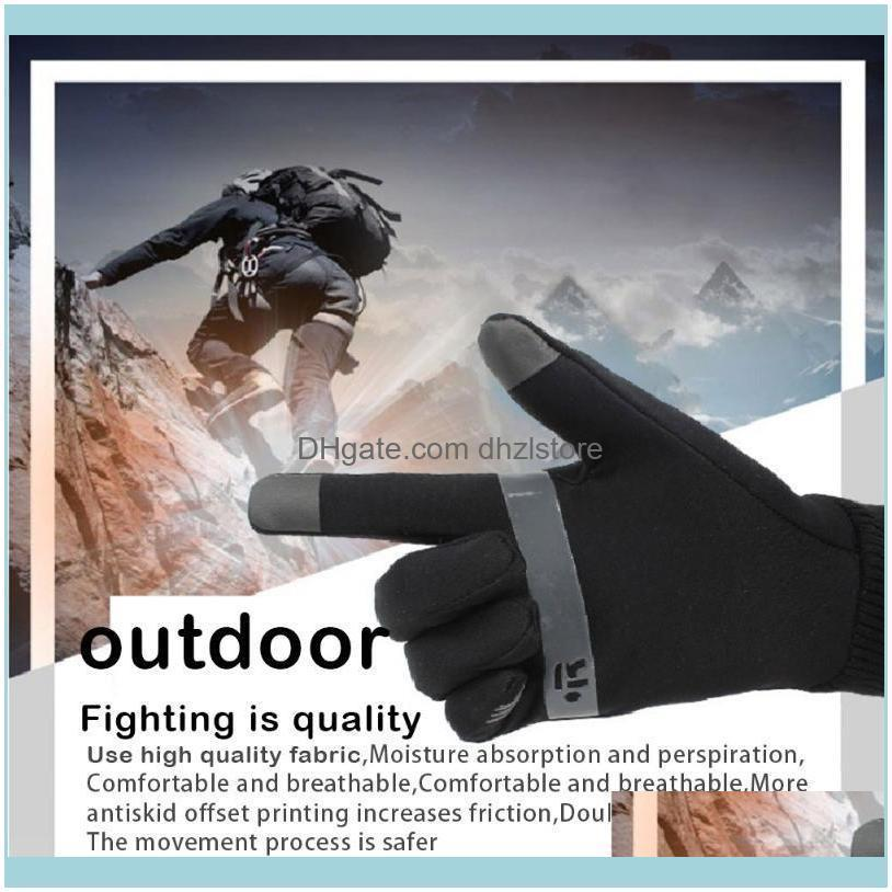 Unisex Oudoor Touch-screen Full Finger Gloves Plush Reflective Non-Slip Mittens For Riding Sports Bike Skiing Cycling