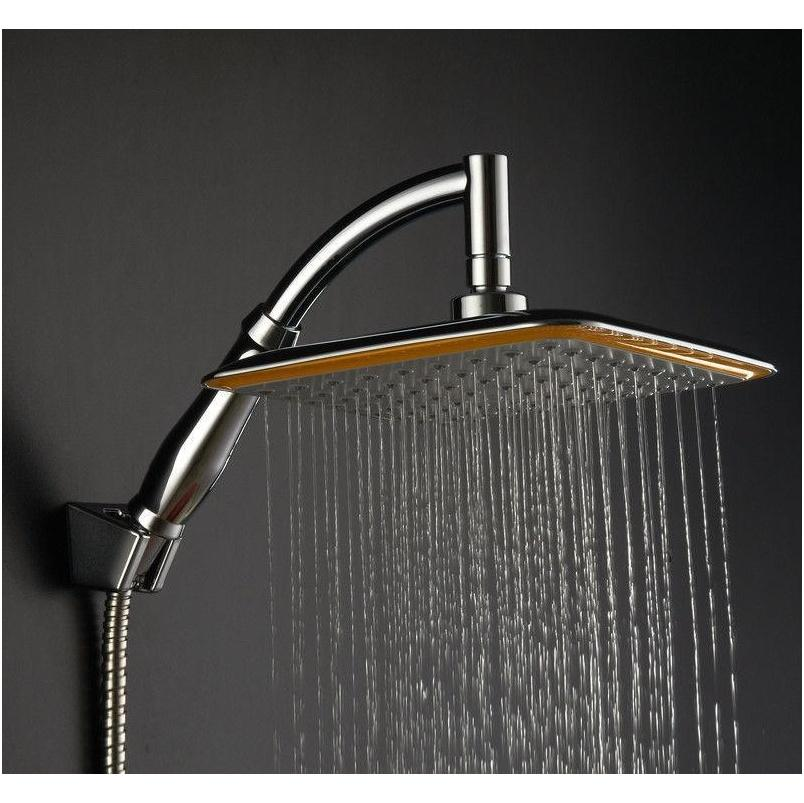 wholesale-large square abs chrome water rains shower head with extension arm bathroom set for bathroom shower head mayitr