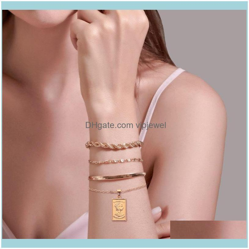Punk Boho Chain Bracelets Bangles For Women Color Rope Cuban Link Charm Lock Bracelets Fashion Hand Chains Jewelry