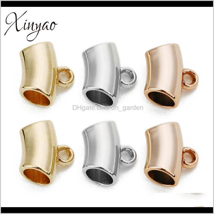 xinyao 50pcs/lot gold rose gold color ccb tube beads loose spacer connectors fit bracelets necklace diy jewelry making