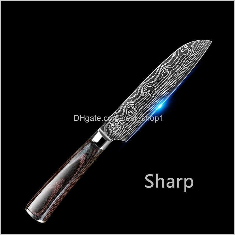 sharp kitchen knife chef knives 7cr17 stainless steel damascus knife laser pattern vegetable meat fruit cleaver slicing knives dbc