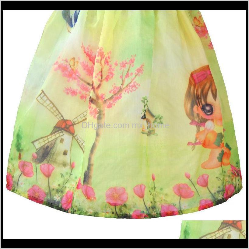 aile rabbit new girl dress kids print dresses tree windmill bow for kids clothing children party dress size girls summer clothes