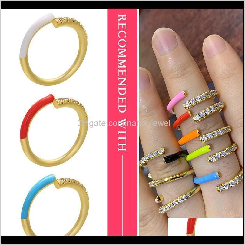 hecheng colorful neon ring wholesale cz rainbow ring for women jewelry accessries adjusted open finger vj24