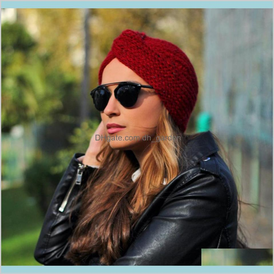 winter knitted hat women cross wrap head warm outdoor ski brimless cap turban bohemian beanie knitting skull caps