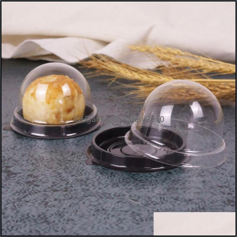 100pcs=50sets Mini Size Plastic Cupcake Cake Dome Container Wedding Favor Boxes Cupcake Boxes Supplies--Free Shipping LX4098