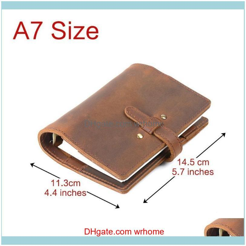 Notepads Handnote Vintage Genuine Leather Notebook A7 Diary Travel Journal Planner Sketchbook Agenda Refill Paper School Birthday Gift