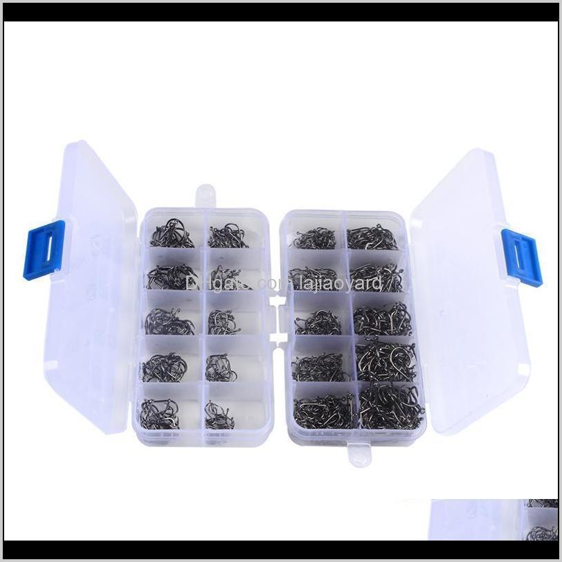 300 400pcs high carbon steel fishing hooks crank fishhook jig fish with plastic box carp accessories