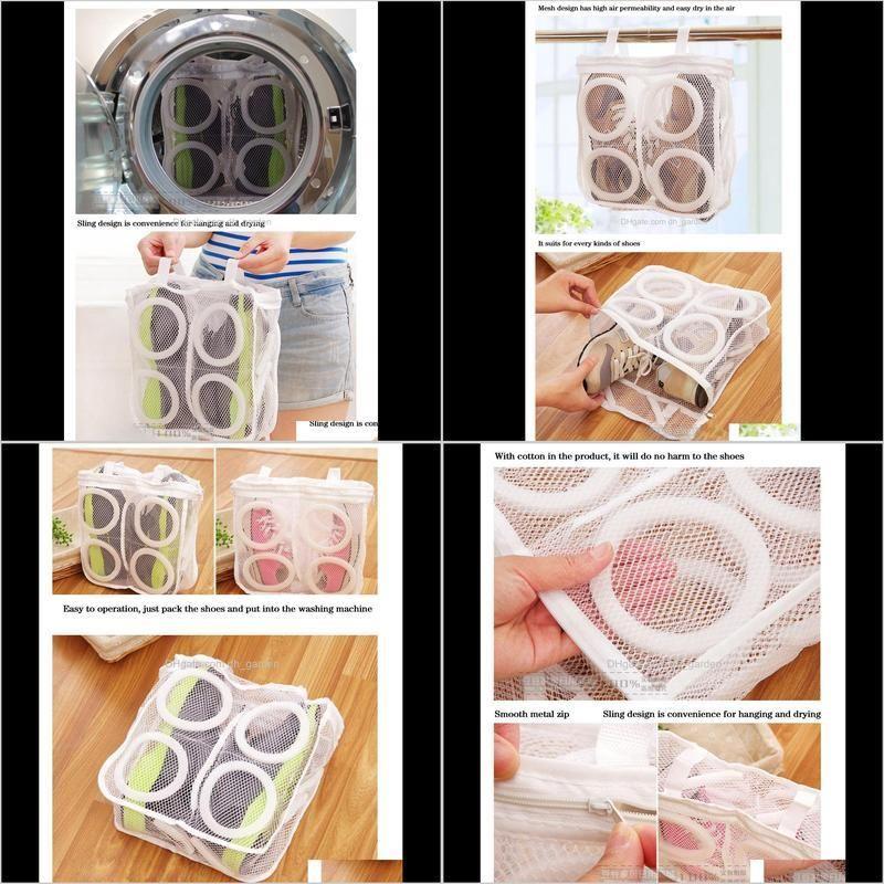 2019 high quality fashion storage organizer bags mesh laundry shoes bags dry shoe organizer portable washing bags wholesale