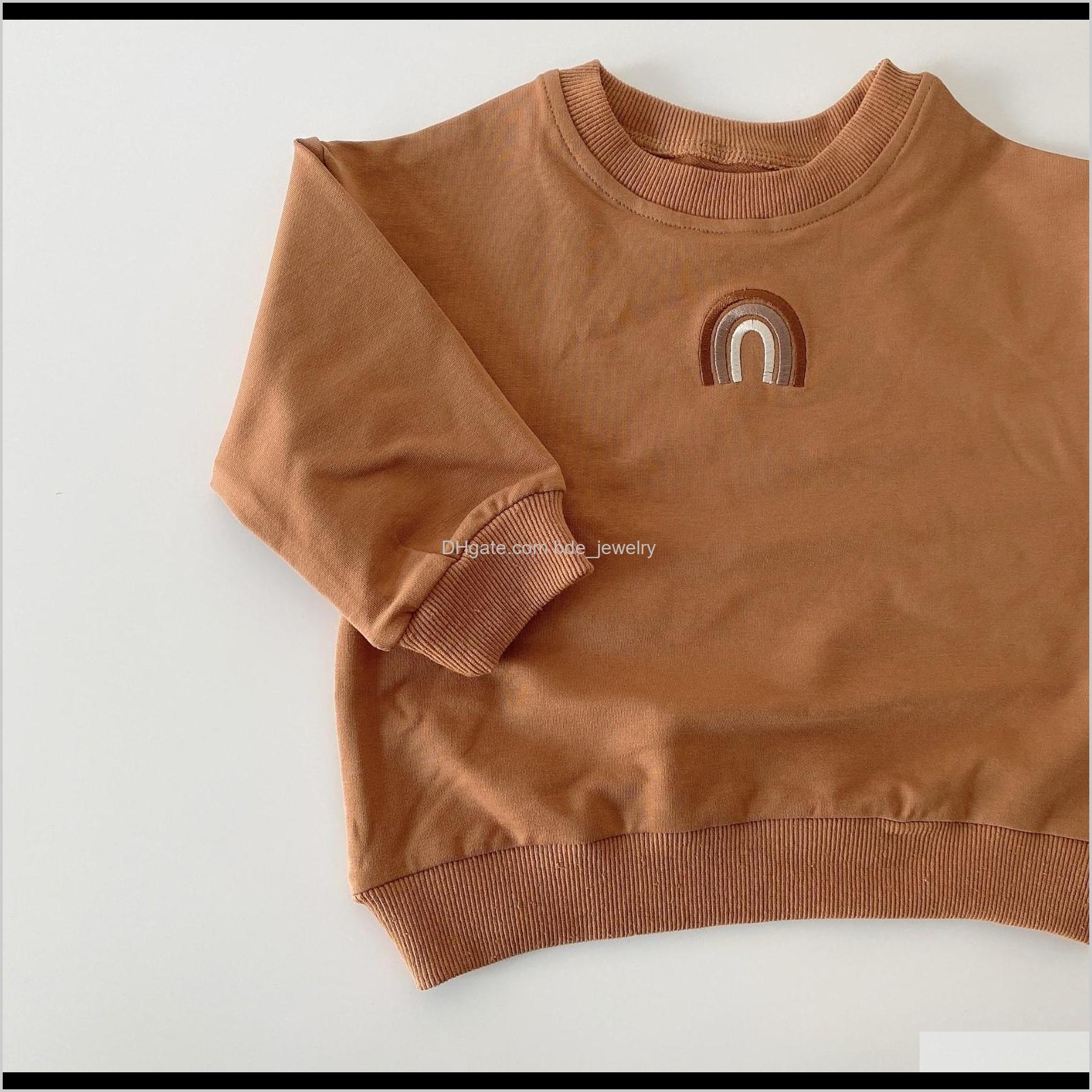 autumn toddler baby girls boys rainbow sweatshirts tops kids long sleeve rainbow t-shirt sweatshirt baby clothes outfits 201222