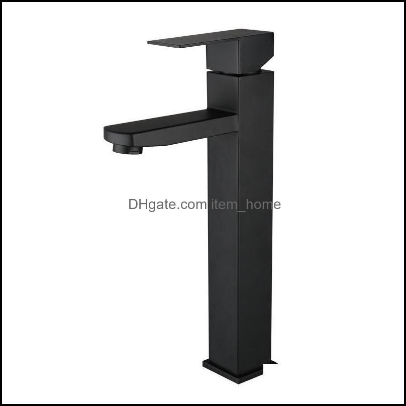 Stainless Steel Basin Faucet Bathroom Accessories Square Black Water Tap Sink Faucets CN(Origin)