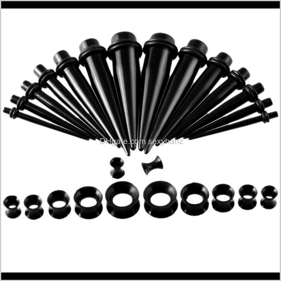 30pcs black acrylic ear taper plugs + thin sile double flared ear expander stretcher tunnel piercing body jewelry wholesale q sqcqnj