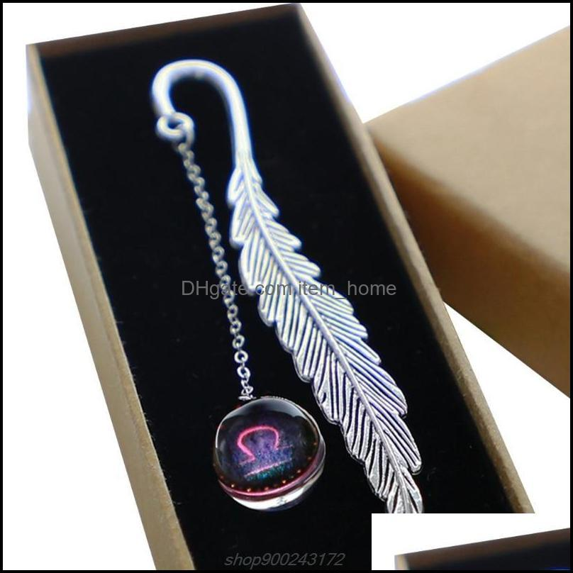 Creative Noctilucent 12 Constellation Bookmark Pendant Metal Book Mark Stationery School Office Supply A14 21 Dropship