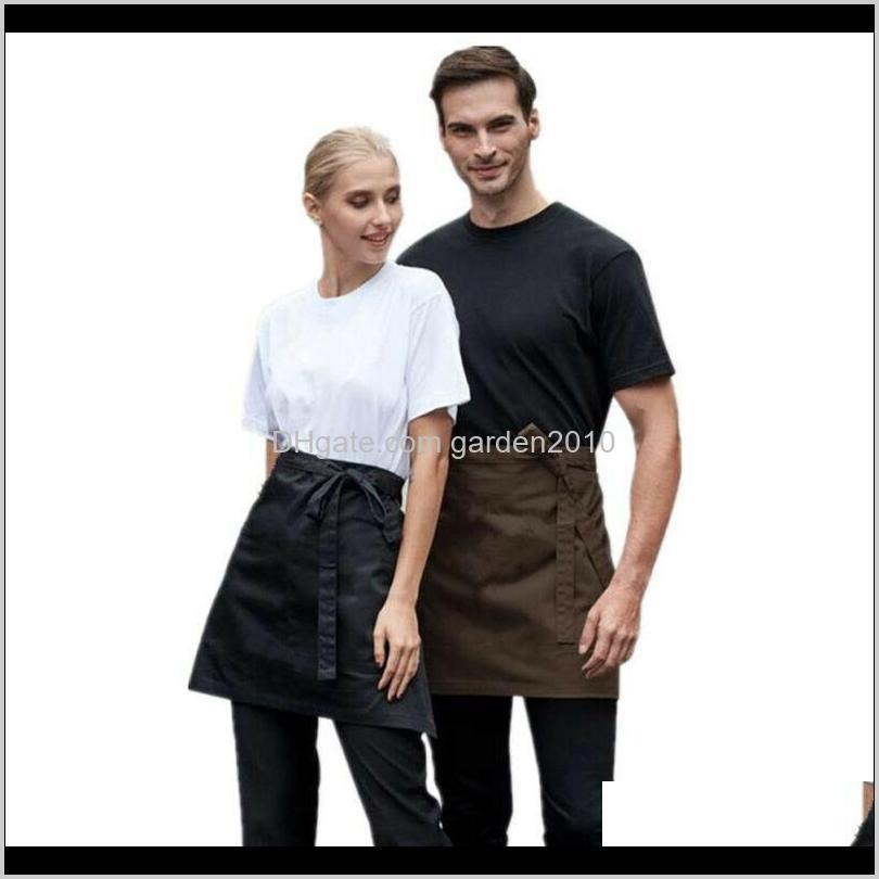 universal unisex apron short waist apron kitchen cooking women men bar aprons with pocket for chef waiter waitress