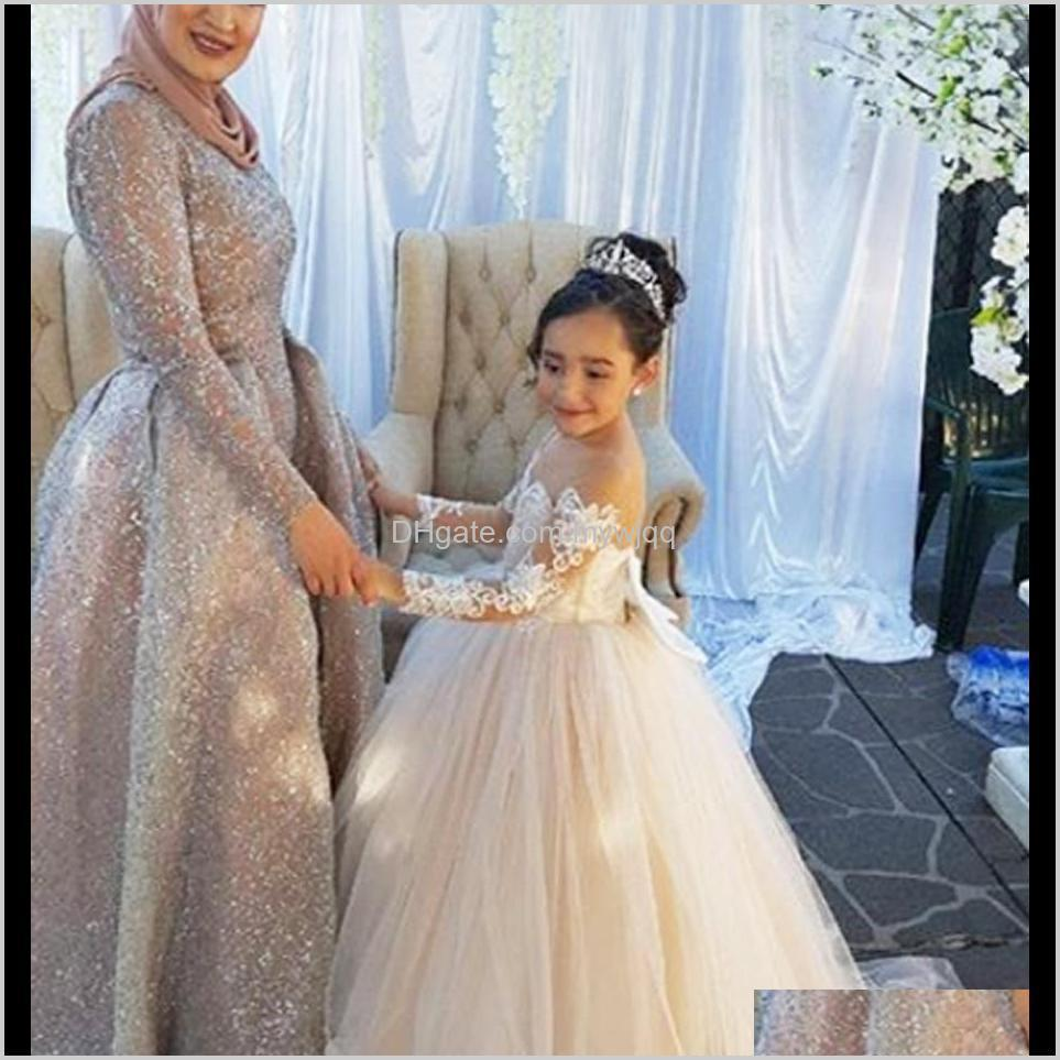 flower girl dress brithday party wedding formal occasion custom princess tutu sequined appliqued lace bow kids first communion