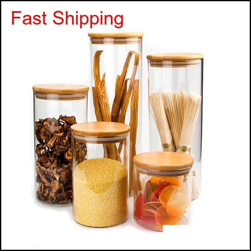 transparent glass food storage canisters corks cover jars bottles for sand liquid food eco-friendly glass bottles with bamboo lid