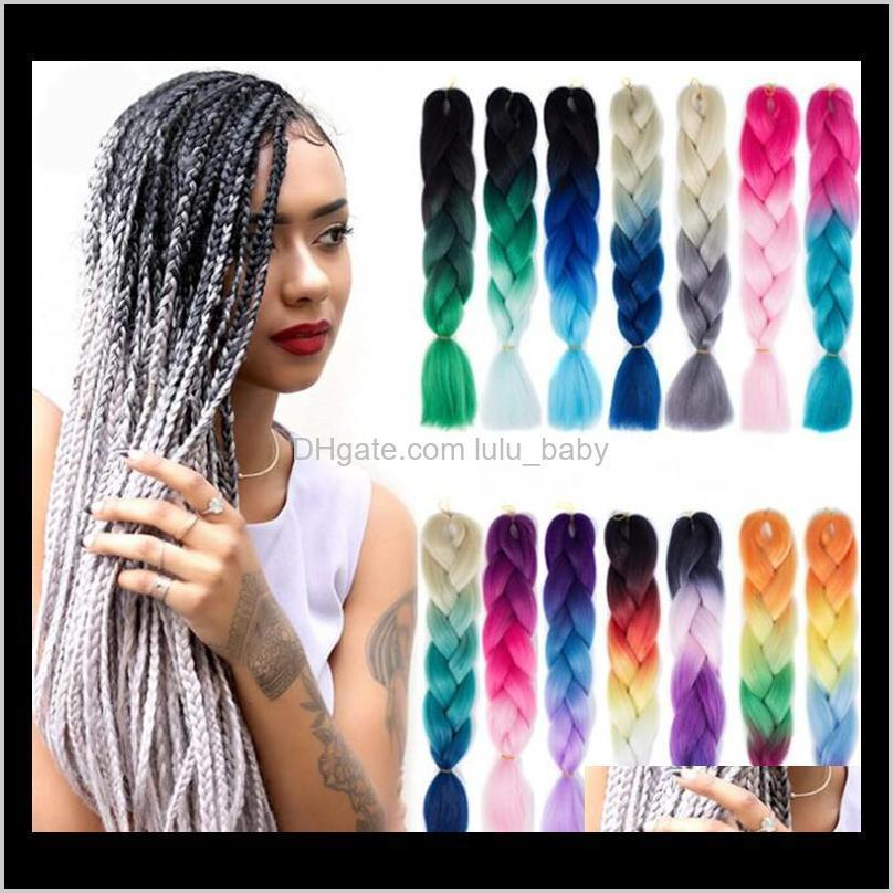z&f jumbo braid hair ombre two three colors hair 24 inch 100g mixed colors black people fashion sythetic